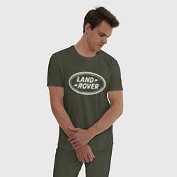 Пижама хлопковая мужская LAND ROVER цвета меланж-хаки — фото 2