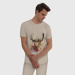 Пижама хлопковая мужская Красочный олень цвета миндальный — фото 2