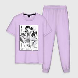 Пижама хлопковая мужская Мисато Кацураги цвета лаванда — фото 1