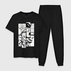 Пижама хлопковая мужская Аска и Синдзи, Евангелион цвета черный — фото 1