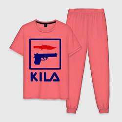 Пижама хлопковая мужская Kila Fila цвета коралловый — фото 1