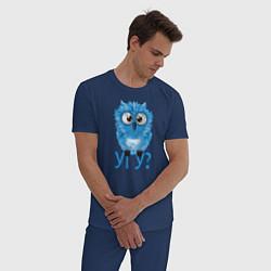 Пижама хлопковая мужская Сова цвета тёмно-синий — фото 2