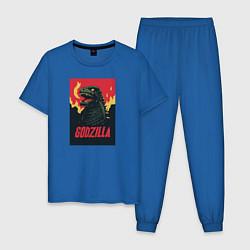 Пижама хлопковая мужская Godzilla цвета синий — фото 1