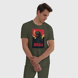 Пижама хлопковая мужская Godzilla цвета меланж-хаки — фото 2