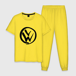 Пижама хлопковая мужская Volkswagen Z цвета желтый — фото 1