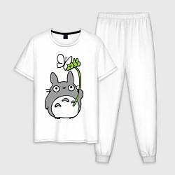 Пижама хлопковая мужская Totoro и бабочка цвета белый — фото 1