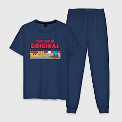 Пижама хлопковая мужская The true original цвета тёмно-синий — фото 1