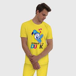 Пижама хлопковая мужская Дональд Дак цвета желтый — фото 2