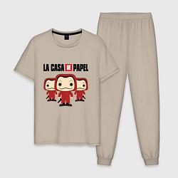 Пижама хлопковая мужская La Casa de Papel Z цвета миндальный — фото 1