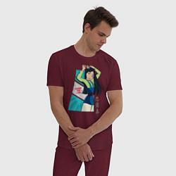 Пижама хлопковая мужская Tougher Than I Look цвета меланж-бордовый — фото 2