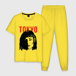 Пижама хлопковая мужская Бумажный дом Z цвета желтый — фото 1