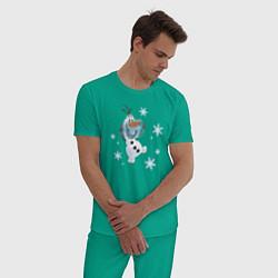Пижама хлопковая мужская Веселый Олаф цвета зеленый — фото 2