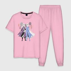 Пижама хлопковая мужская Холодное сердце цвета светло-розовый — фото 1