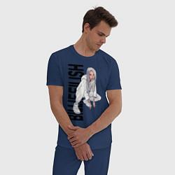 Пижама хлопковая мужская Билли айлиш цвета тёмно-синий — фото 2