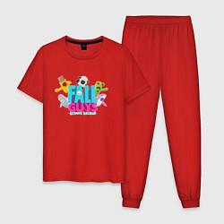 Пижама хлопковая мужская FALL GUYS 2 СТОРОНЫ цвета красный — фото 1
