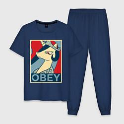 Пижама хлопковая мужская Trixie OBEY цвета тёмно-синий — фото 1
