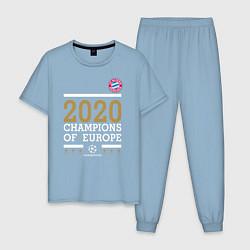 Пижама хлопковая мужская FC Bayern Munchen Champions of Europe 2020 цвета мягкое небо — фото 1