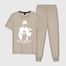 Пижама хлопковая мужская Death Note цвета миндальный — фото 1