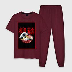 Пижама хлопковая мужская Рамэн цвета меланж-бордовый — фото 1
