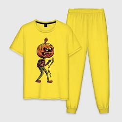 Пижама хлопковая мужская Halloween цвета желтый — фото 1