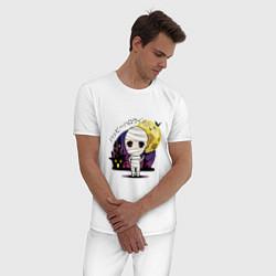 Пижама хлопковая мужская Мумия цвета белый — фото 2