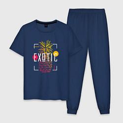 Пижама хлопковая мужская Ананас с надписью Exotic цвета тёмно-синий — фото 1