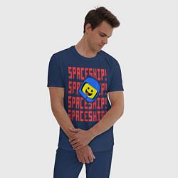 Пижама хлопковая мужская Spaceship цвета тёмно-синий — фото 2