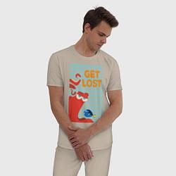 Пижама хлопковая мужская Get Lost цвета миндальный — фото 2