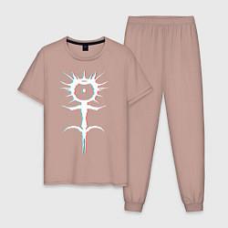 Пижама хлопковая мужская GHOSTEMANE GLITCH цвета пыльно-розовый — фото 1