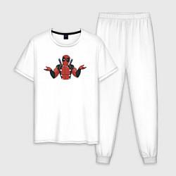 Пижама хлопковая мужская Дэдпул цвета белый — фото 1