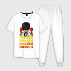 Пижама хлопковая мужская PUBG Winner Chicken Dinner цвета белый — фото 1