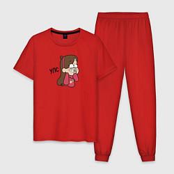 Пижама хлопковая мужская УПС цвета красный — фото 1