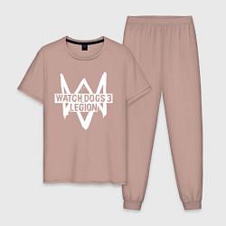 Пижама хлопковая мужская Watch Dogs: Legion цвета пыльно-розовый — фото 1