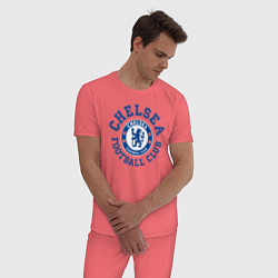 Пижама хлопковая мужская Chelsea FC цвета коралловый — фото 2