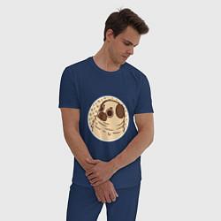 Пижама хлопковая мужская Мечта мопса цвета тёмно-синий — фото 2