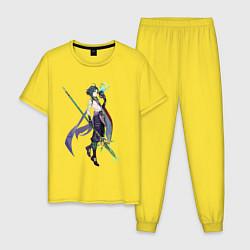 Пижама хлопковая мужская Сяо Genshin Impact цвета желтый — фото 1
