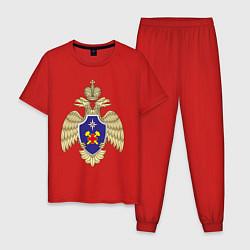 Пижама хлопковая мужская ВГЧ МЧС цвета красный — фото 1