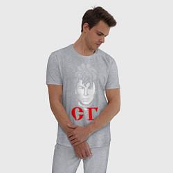 Пижама хлопковая мужская Сектор Газа цвета меланж — фото 2