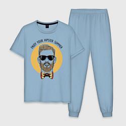 Пижама хлопковая мужская Хипстер цвета мягкое небо — фото 1