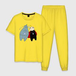 Пижама хлопковая мужская Стальной Алхимик, Ал и Эд цвета желтый — фото 1