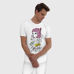 Пижама хлопковая мужская Криминальное чтиво 2020 цвета белый — фото 2