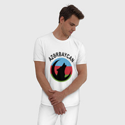 Пижама хлопковая мужская Азербайджан цвета белый — фото 2