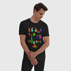 Пижама хлопковая мужская AMONG US НОВОГОДНИЙ цвета черный — фото 2