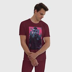 Пижама хлопковая мужская Mr Robot цвета меланж-бордовый — фото 2