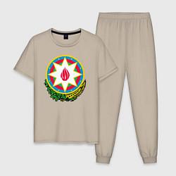 Пижама хлопковая мужская Азербайджан цвета миндальный — фото 1