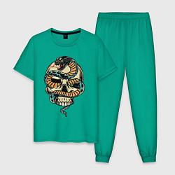 Пижама хлопковая мужская Snake&Skull цвета зеленый — фото 1