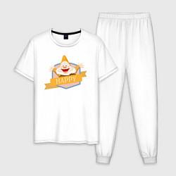 Пижама хлопковая мужская Весельчак цвета белый — фото 1