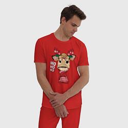 Пижама хлопковая мужская Бык - олень цвета красный — фото 2