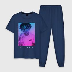 Пижама хлопковая мужская Kizaru Vaporwave цвета тёмно-синий — фото 1