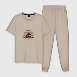 Пижама хлопковая мужская Among Us цвета миндальный — фото 1